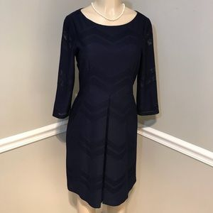 LONDON TIMES Navy Chevron Fit n Flare Dress Size 8